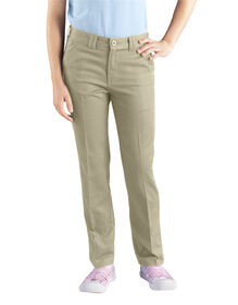 Girls' Skinny Fit Straight Leg Stretch Twill Pant, 7-20 - DESERT SAND (DS)