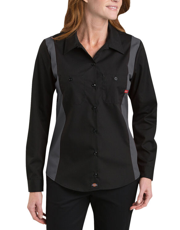 Women's Industrial Long Sleeve Color Block Shirt - BLACK/CHARCOAL (BKCH)