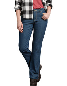 Women's Relaxed Fit Straight Leg Flannel Lined Denim Jean