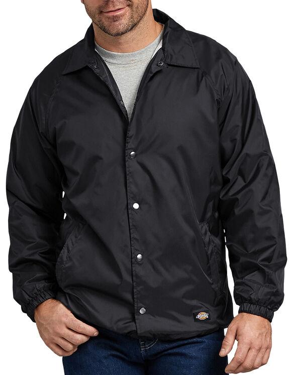 Snap Front Nylon Jacket - BLACK (BK)