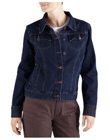 Women's Stretch Denim Jacket - DARK INDIGO BLACK (DIB)