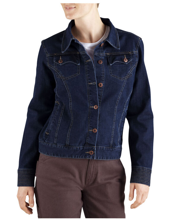 Women's Stretch Denim Jacket - DARK INDIGO BLACK (DIB)