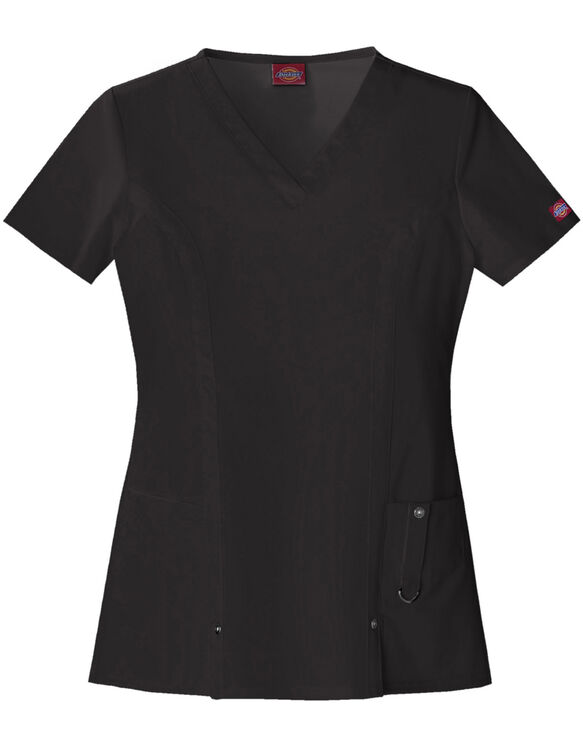 Women's Junior Fit Xtreme Stretch V-Neck Scrub Top - BLACK-LICENSEE (BLK)