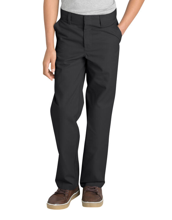 Boys' Classic Fit Straight Leg Flat Front Pant, 8-20 (Husky) - BLACK (BK)