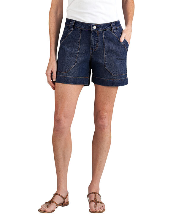 "Women's Relaxed Fit 5"" Stretch Denim Utility Short - RINSED INDIGO BLUE (RNB)"