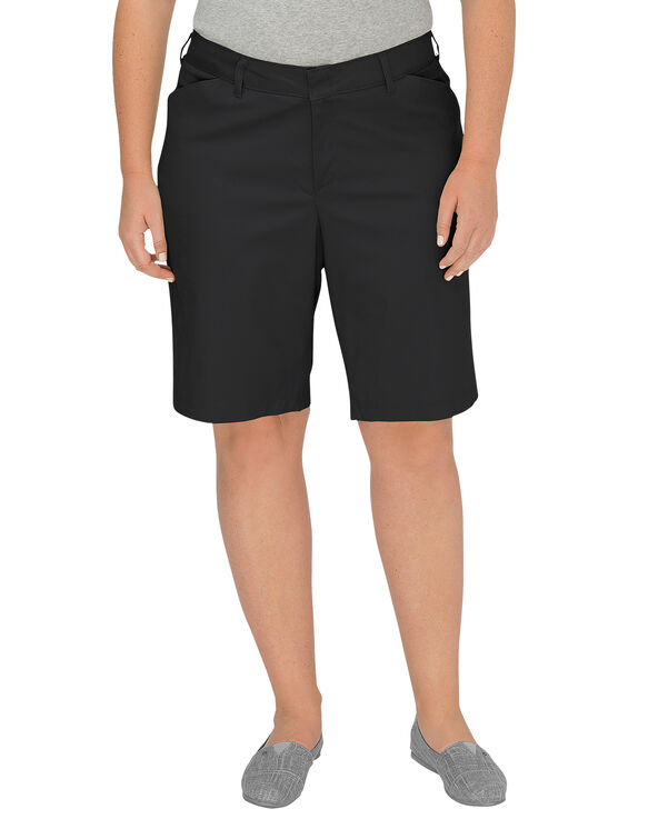 "Women's 10"" Relaxed Fit Stretch Twill Short (Plus) - BLACK (BK)"