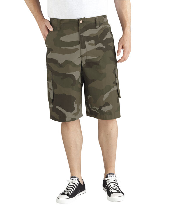 "13"" Relaxed Fit Bellowed Cargo Short - STONEWASH GREEN CAMO (SGBC)"