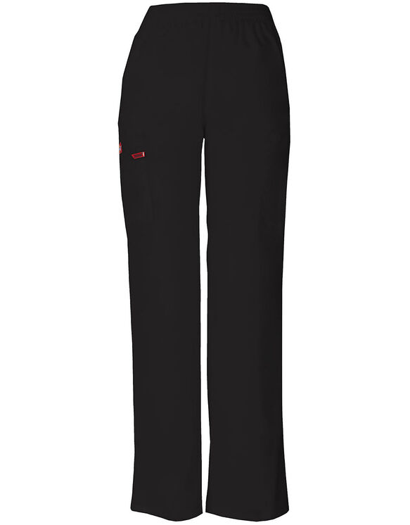 Women's Missy Fit EDS Pull-on Cargo Scrub Pant - BLACK-LICENSEE (BLK)