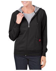 Women's Plaited Jersey Full Zip Hoodie - BLACK (BK)