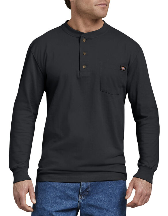 Long Sleeve Heavyweight Henley - BLACK (BK)