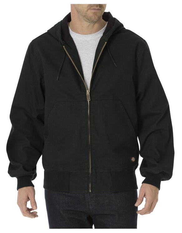 Sanded Duck Thermal Lined Hooded Jacket - RINSED BLACK (RBK)