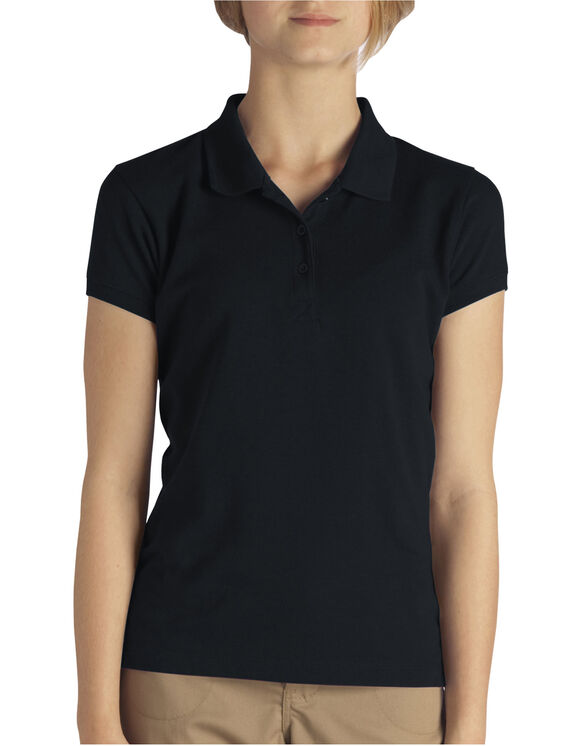 Girls' Short Sleeve Pique Polo Shirt, 4-6 - BLACK (BK)