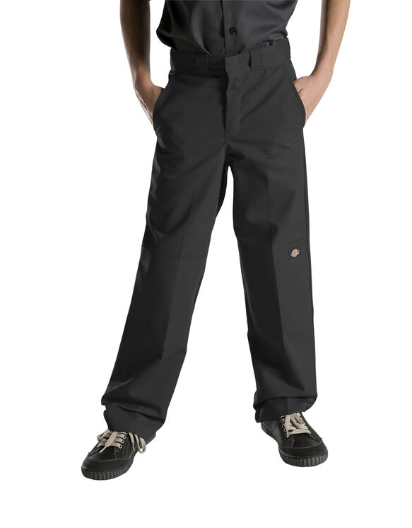 Boys' Relaxed Fit Straight Leg FlexWaist® Double Knee Pant, 8-20 - BLACK (BK)