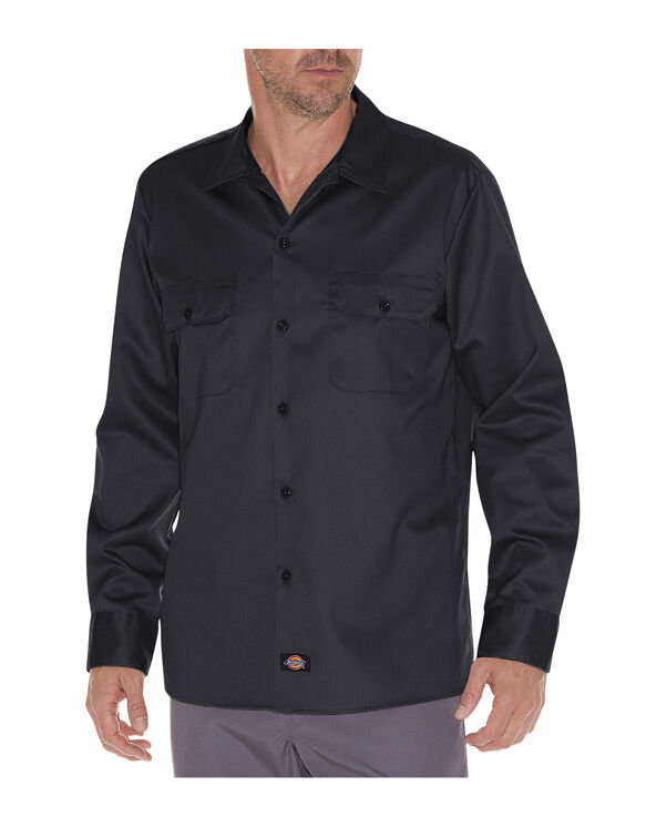 Slim Fit Long Sleeve Work Shirt - BLACK (BK)