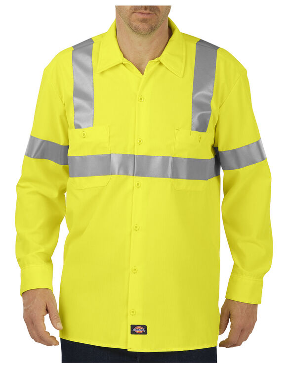 High Visibility ANSI Class 2 Long Sleeve Work Shirt - ANSI YELLOW (AY)