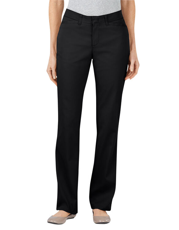 Women's Curvy Fit Straight Leg Stretch Twill Pant - BLACK (BK)