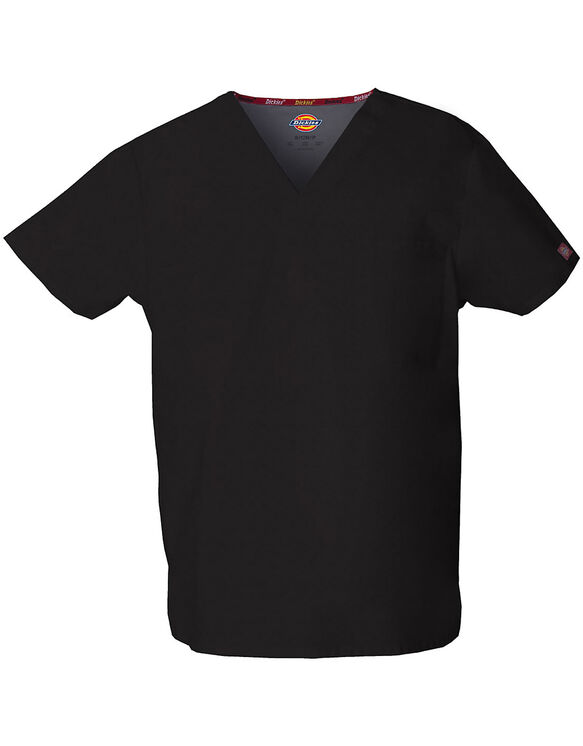 Unisex EDS V-Neck Scrub Top - BLACK-LICENSEE (BLK)