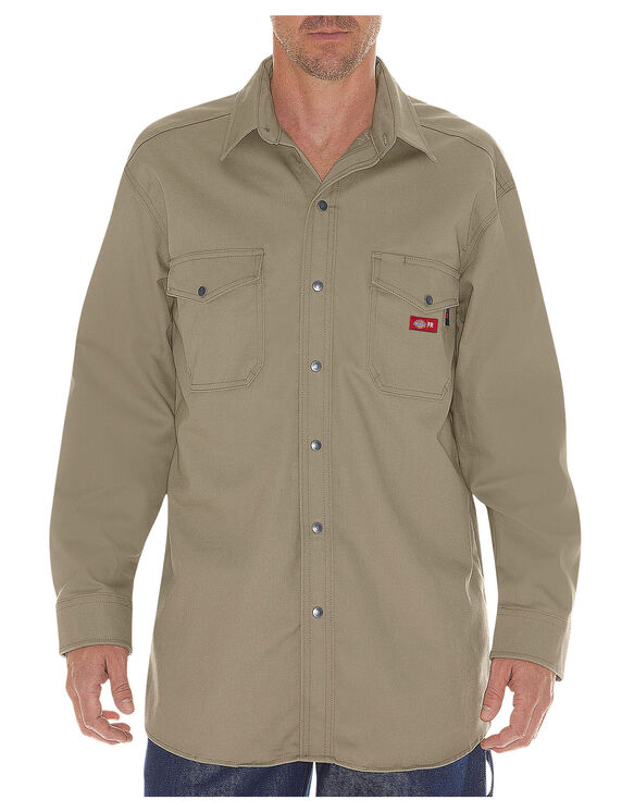 Flame-Resistant Long Sleeve Twill Snap Front Shirt - KHAKI (KH)
