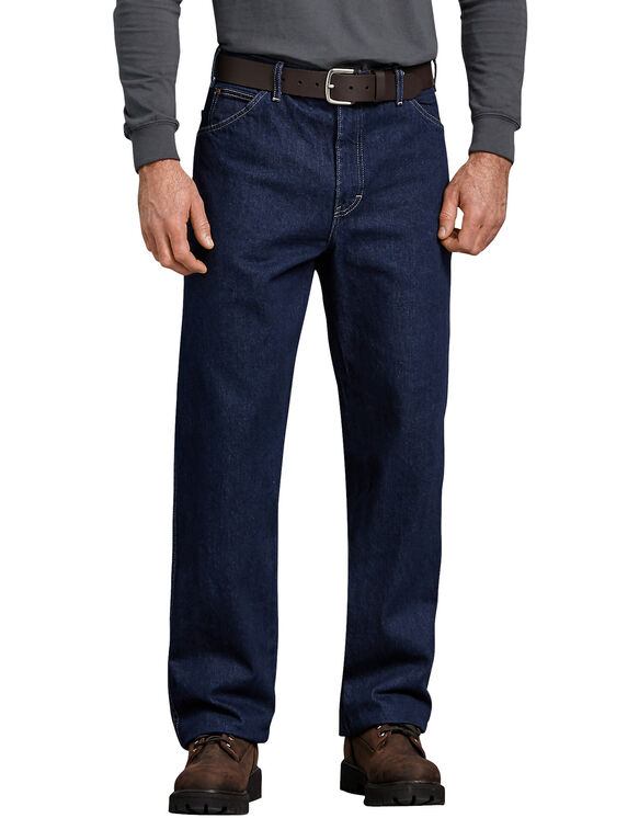 Relaxed Straight Fit 5-Pocket Denim Jean - RINSED INDIGO BLUE (RNB)