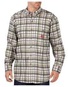 Flame-Resistant Long Sleeve Plaid Shirt - KHAKI/WHITE PLAID (HEP)