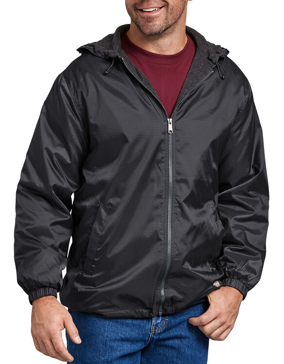 Fleece Lined Hooded Nylon Jacket - BLACK (BK)