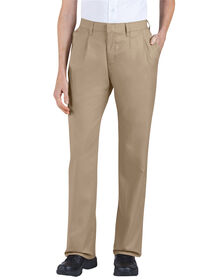 Women's Relaxed Fit Straight Leg Pleated Front Pant - KHAKI (KH)