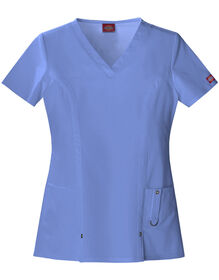 Women's Junior Fit Xtreme Stretch V-Neck Scrub Top - CEIL BLUE-LICENSEE (CBL)