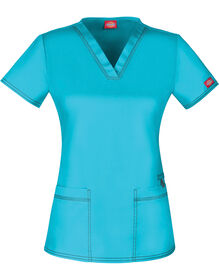 Women's Gen Flex V-Neck Scrub Top - ICY TURQUOISE-LICENSEE (ITQ)