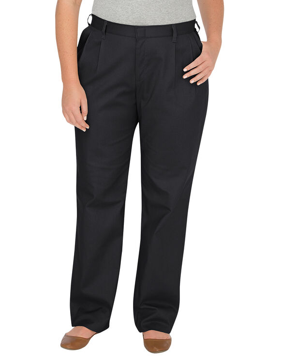 Women's Relaxed Fit Straight Leg Pleated Front Pant (Plus) - BLACK (BK)