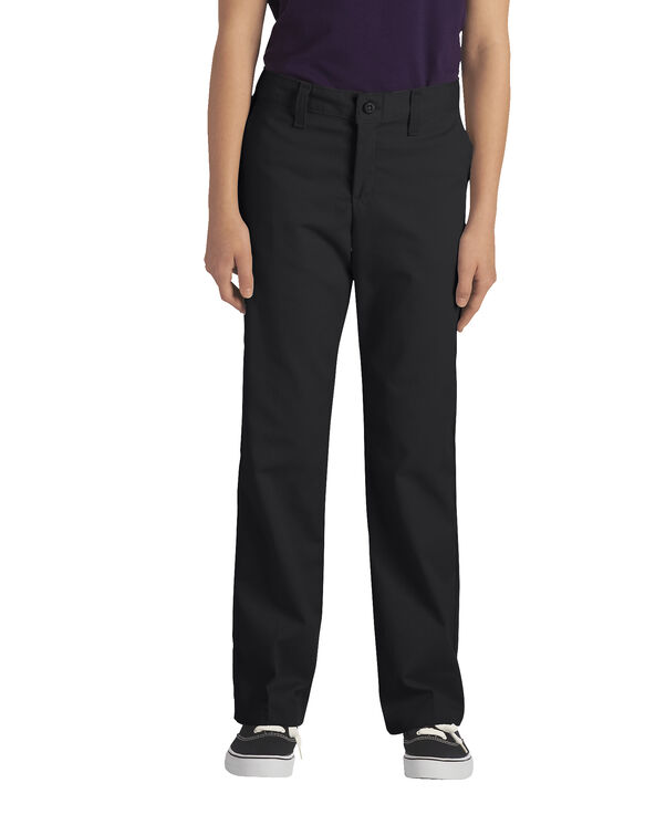 Juniors Schoolwear Classic Fit Straight Leg Stretch Twill Pant - BLACK (BK)