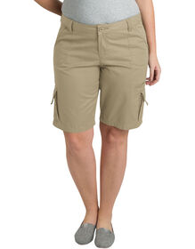 """Women's 10"""" Relaxed Fit Cotton Cargo Short (Plus) - RINSED DESERT SAND (RDS)"""