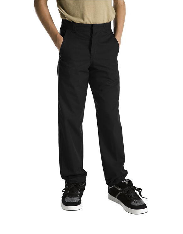 Boys' Classic Fit Straight Leg Flat Front Pant, 8-20 - BLACK (BK)