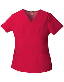 Women's EDS Mock Wrap Scrub Top - RED (RD)
