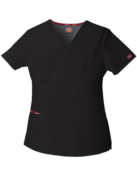 Women's EDS Signature Mock Wrap Scrub Top - BLACK (BLK)