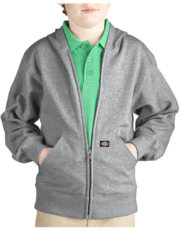 Kids' Full Zip Fleece Hoodie, 8-20 - HEATHER GRAY (HG)