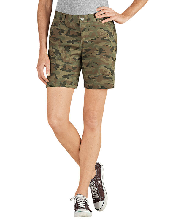 """Women's 7"""" Relaxed Fit Stretch Canvas Short - RINSED BUTTERFLY CAMO (RBGC)"""