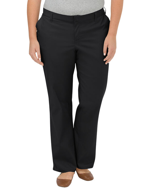Women's Premium Relaxed Straight Flat Front Pant (Plus) - BLACK (BK)