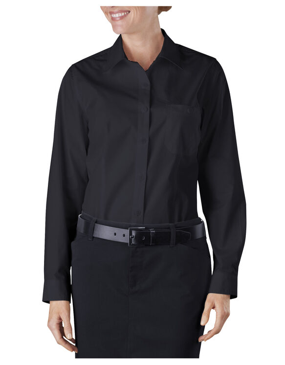 Women's Long Sleeve Service Shirt - BLACK (BK)