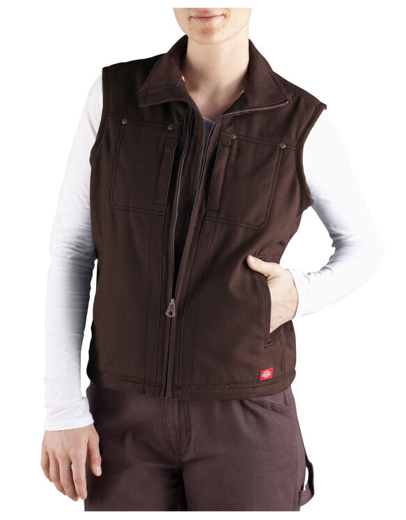 Women's Sanded Duck Vest - CHOCOLATE BROWN (CB)