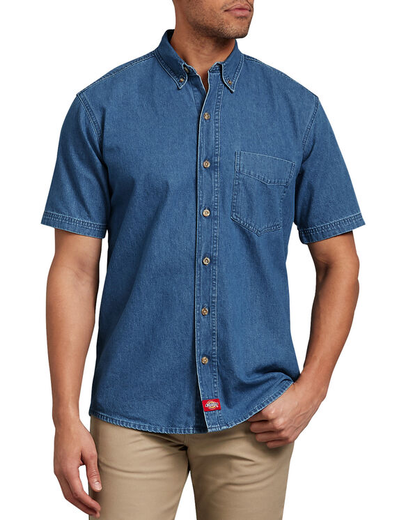 Short Sleeve Button-Down Denim Shirt