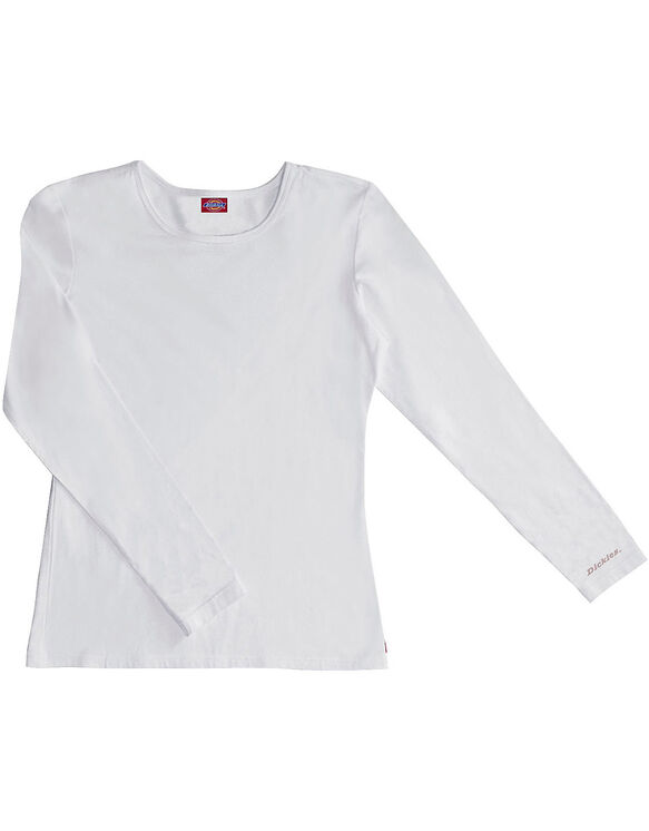 Women's EDS Signature Silky Long Sleeve Crew Neck Tee - DICKIES WHITE-LICENSEE (DWH)